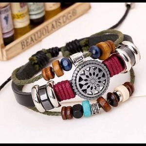 Jewelry - Bohemian beaded leather wrap bracelet NEW